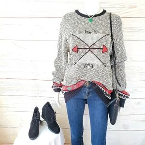 Anthropologie Koto geometric pattern sweater